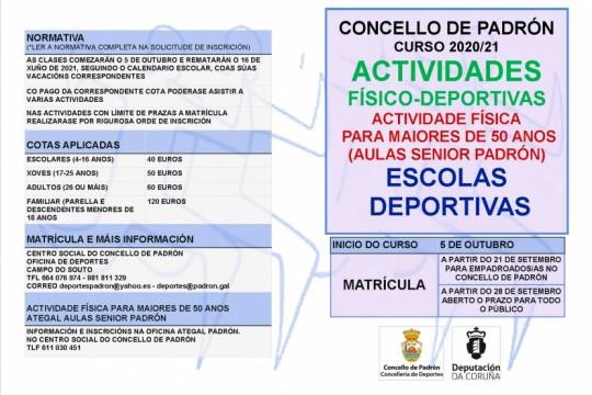 O Concello de Padrón presenta a súa oferta de actividades físico-deportivas para o curso 2020-2021 baixo un estrito protocolo de seguridade pola
